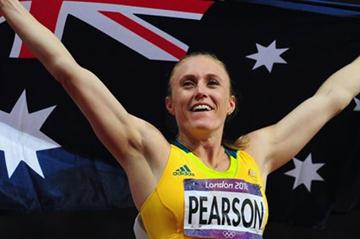 Sally Pearson of Australia celebrates after winning the gold medal in the Women's 100m Hurdles Final on Day 11 of the London 2012 Olympic Games on 7 August 2012 (Getty Images)