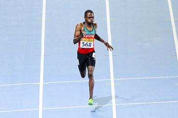Alphas Leken of Kenya competes alone for getting the acces to the Final on his re-run Men's 400 metres Semi-Final on the day two of the 14th IAAF World Junior Championships in Barcelona (Getty Images)