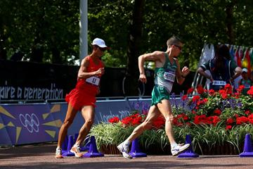 Robert Heffernan (R) of Ireland and Jianbo Li of China compete during the Men's 50km Walk of the London 2012 Olympic Games on August 11 (Getty Images)