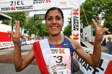 Alessandra Aguilar (ESP) celebrates her victory in Hamburg (Getty Images)