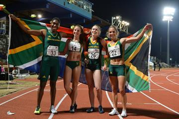 South Africa's victorious 4x400m relay squad in Durban: Caster Semenya, Jeanelle Griesel, Justine Palframan and Wenda Nel (Roger Sedres)