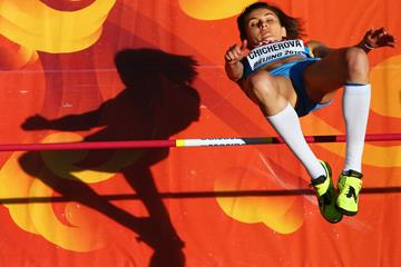Anna Chicherova in the high jump qualification at the IAAF World Championships, Beijing 2015 (Getty Images)