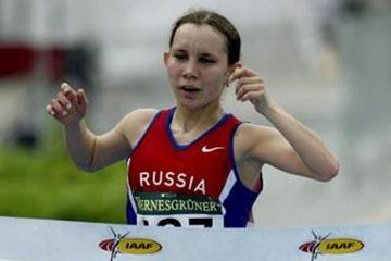 Vera Sokolova of Russia wins the women's junior race in Naumburg (Getty Images)