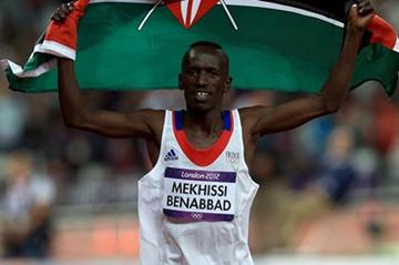 Ezekiel Kemboi of Kenya celebrates after winning the gold medal in the Men's 3000m Steeplechase Final on Day 9 of the London 2012 Olympic Games on 5 August 2012 (Getty Images)