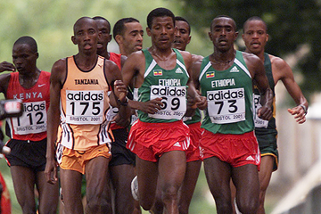 Haile Gebrselassie on his way to winning the 2001 IAAF World Half Marathon Championships in Bristol (Getty Images)