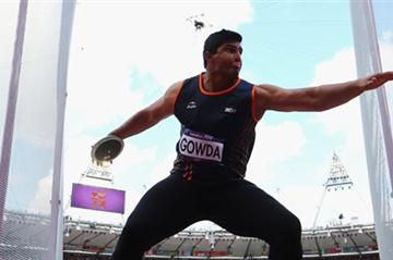 Vikas Gowda of India competes in the Men's Discus Throw qualification on Day 10 of the London 2012 Olympic Games at the Olympic Stadium on August 6, 2012 (Getty Images)