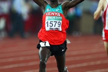 Silas Kiplagat after striking Commonwealth 1500m gold (Getty Images)