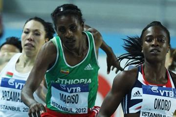 Fantu Magiso of Ethiopia stumbles as she Marilyn Okoro of Great Britain competes with in the Women's 800 Metres first round during day one - WIC Istanbul (Getty Images)
