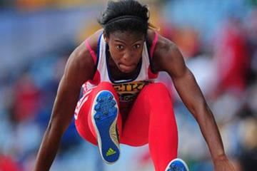 Yusleidys Mendieta of Cuba in the heptathlon long jump (Getty Images)