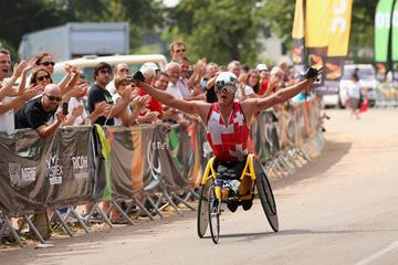 Switzerland's Marcel Hug on his way to Marathon gold at the IPC World Championships (Getty Images)