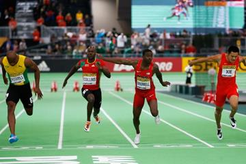 Trayvon Bromell wins the 60m at the IAAF World Indoor Championships Portland 2016 (Getty Images)