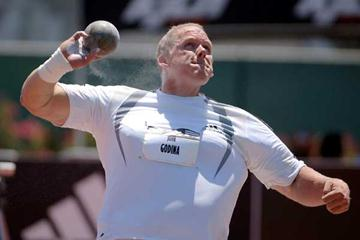 John Godina 22.22m personal best in Carson (Kirby Lee/The Sporting Image)