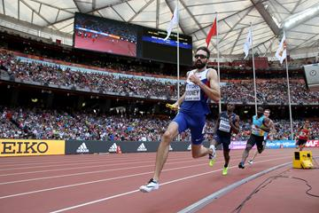 Britain's Martyn Rooney in the 4x400m heats at the IAAF World Championships, Beijing 2015 (Getty Images)