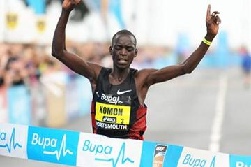 Leonard Patrick Komon breaking the tape at the Great South Run (Mark Shearman)