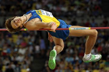 Dmytro Dem'yanyuk of Ukraine in action in the men's high jump final  (Getty Images)