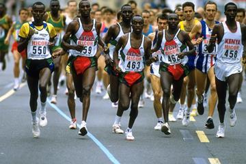 Moses Tanui (462) leading the 1995 IAAF World Half Marathon Championships (Getty Images)