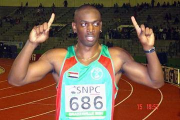 Todd Jouda Matthews (SUD) after his Hurdles win in Brazzaville (Ouma)