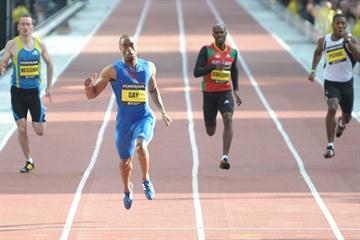 Tyson Gay flies 19.41 for 200m on a straight track in Manchester (Mark Shearman)