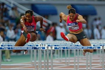 Brigitte Foster-Hylton wins a closely-fought race in the women's 100m Hurdles (Getty Images)