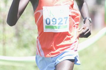 Mathew Kisorio wins the 8km men's race during the KCB National Cross Country series meeting at Kisii (Mohammed Amin)