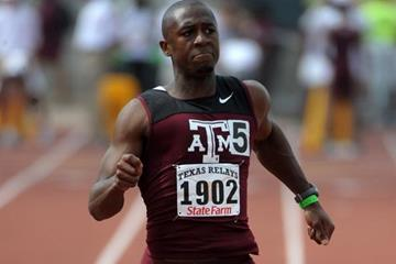 Gerald Phiri en route to a 10.06 victory at the Texas Relays, a Zambian record (Kirby Lee)