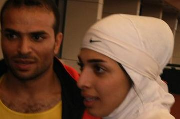 Iranian 400m winners Reza Bouazar and Maryam Toosi at Asian indoor championships in Hangzhou (Tony Daniel)
