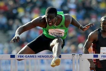 Dayron Robles on the way to his 13.07 win in Hengelo (FBK Games organisers)