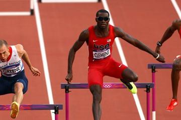 (L-R) David Greene of Great Britain, Kerron Clement of the United States and Jehue Gordon of Trinidad and Tobago compete in the Men's 400m Hurdles Semi Finalon Day 8 of the London 2012 Olympic Games on 4 August 2012 (Getty Images)