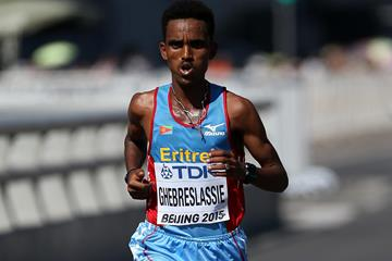 Ghirmay Ghebreslassie on his way to winning the marathon at the IAAF World Championships, Beijing 2015 (Getty Images)