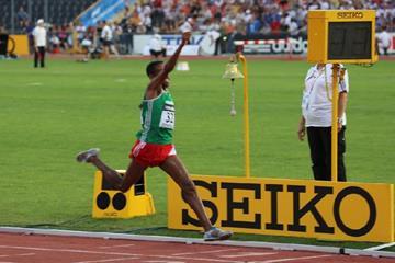 Meresa Kahsay winning at the 2013 IAAF World Youth Championships  (Rachel Rominger - IAAF)