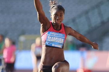Caterine Ibarguen in the triple jump at the IAAF Diamond League meeting in Brussels (Jean-Pierre Durand)