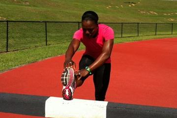 Veronica Campbell Brown in training prior to her World indoor title defence (Claude Bryan)