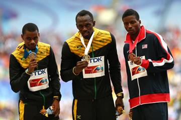 Mens 200m Medal Ceremony at the IAAF World Athletics Championships Moscow 2013 (Getty Images)