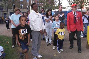 Gebrselssie at the Kids fun marathon (© Allsport)