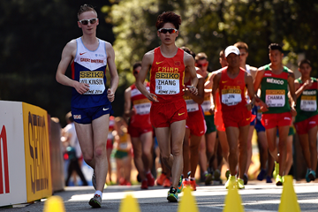 Callum Wilkinson leads the U20 men's 10km at the IAAF World Race Walking Team Championships Rome 2016 (Getty Images)