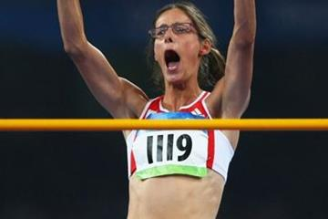 Tia Hellebaut clears 2.05m on her first attempt to secure high jump gold (Getty Images)