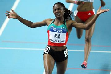 Hellen Obiri of Kenya celebrates as she wins gold in the women's 3000m in Istanbul (Getty Images)