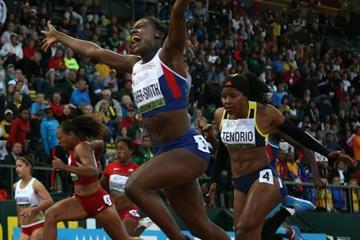 100m winner Dina Asher-Smith at the IAAF World Junior Championships, Oregon 2014 (Getty Images)