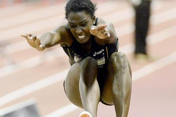 Sharon Day in the pentathlon long jump at the US Indoor Championships (Randy Miyazaki)