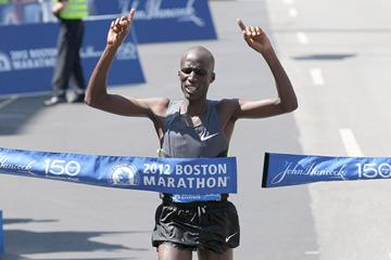 Wesley Korir wins the 2012 BAA Boston Marathon (Victah Sailer)