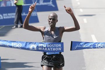 Wesley Korir wins the 2012 BAA Boston Marathon (Victah Sailer)