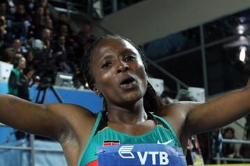 Hellen Onsando Obiri of Kenya enjoys being gold in the Women's 3000 Metres Final during day three - WIC Istanbul (Getty Images)
