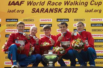 The men's Russian team victorious in Saransk: Sergey Kirdyapkin, Igor Erokhin, Sergey Bakulin, Mikhail Ryzhov and Ivan Noskov (Getty Images)