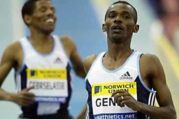 Markos Geneti (ETH) beats Gebrselassie in Birmingham (Getty Images)