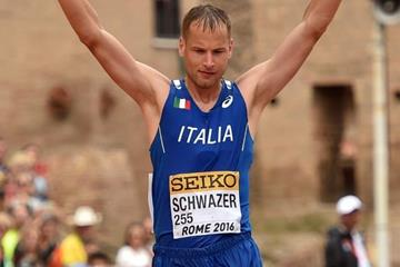 Alex Schwazer crosses the 50km finish line at the IAAF World Race Walking Team Championships Rome 2016 (Getty Images)