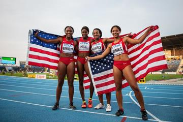 The US 4x100m team after winning gold at the IAAF World U20 Championships Bydgoszcz 2016 (Getty Images)