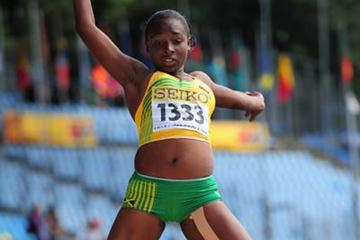 Chanice Porter of Jamaica jumping to World Youth gold in Lille (Getty Images)
