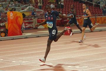 LaShawn Merritt wins the 400m title by almost one second to lead a US sweep with Jeremy Wariner in second and David Neville in third (Getty Images)