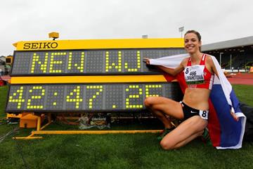 Anezka Drahotova after breaking the world junior 10,000m race walk record at the 2014 IAAF World Junior Championships in Eugene (Getty Images)