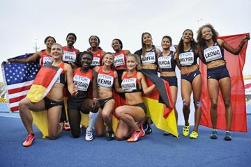 The top three teams in the women's 4x100m at the IAAF World U20 Championships Bydgoszcz 2016 (Getty Images)